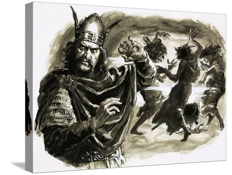 In Shakespeare's Play, Macbeth Meets Three Witches-C.l. Doughty-Stretched Canvas Print