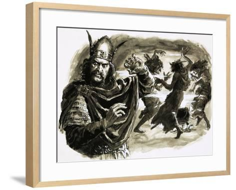 In Shakespeare's Play, Macbeth Meets Three Witches-C.l. Doughty-Framed Art Print