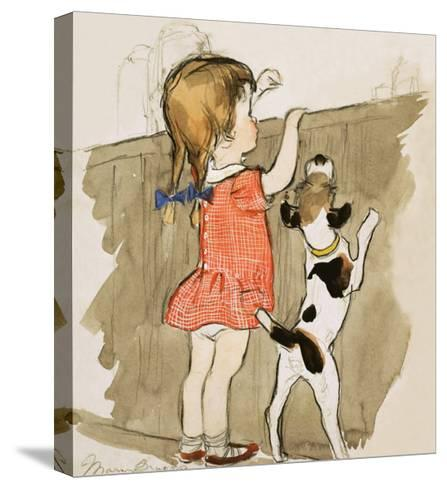 Unidentified Young Girl and Dog-Mary Brook-Stretched Canvas Print