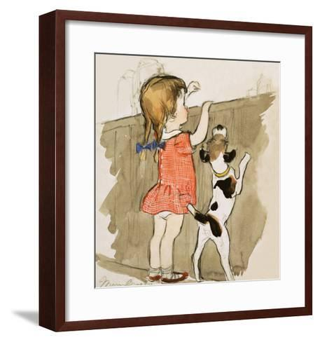 Unidentified Young Girl and Dog-Mary Brook-Framed Art Print