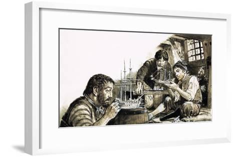 French Prisoners-Of-War of the Napoleonic Wars Making Model Ships-C.l. Doughty-Framed Art Print