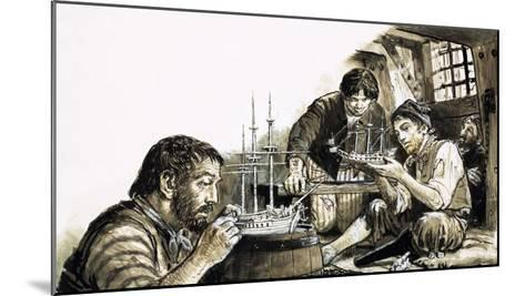 French Prisoners-Of-War of the Napoleonic Wars Making Model Ships-C.l. Doughty-Mounted Giclee Print