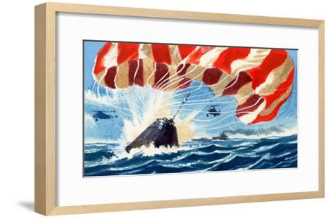 Space Capsule Returns to Earth by Parachute-Wilf Hardy-Framed Art Print