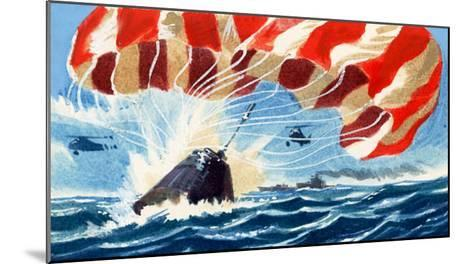 Space Capsule Returns to Earth by Parachute-Wilf Hardy-Mounted Giclee Print