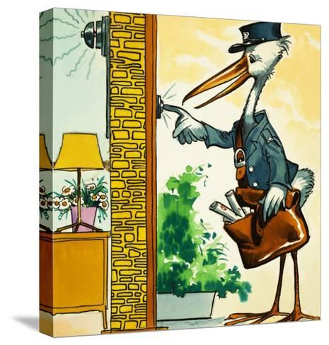 Postman Stork Rings the Bell--Stretched Canvas Print
