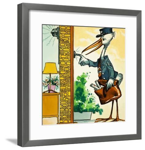 Postman Stork Rings the Bell--Framed Art Print