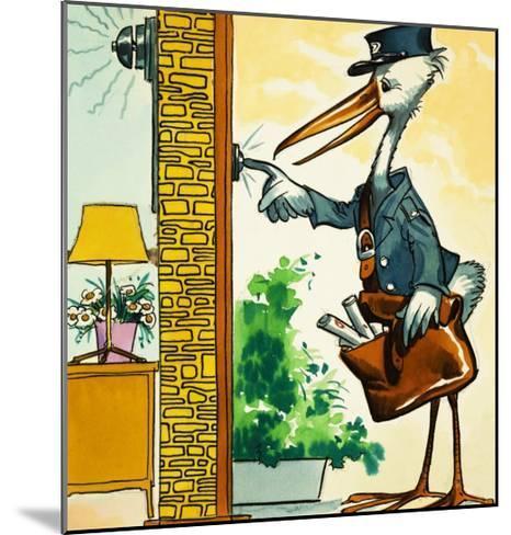 Postman Stork Rings the Bell--Mounted Giclee Print