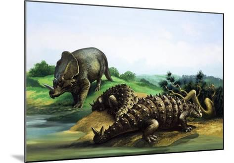 Monoclonius and Scolosaurus--Mounted Giclee Print