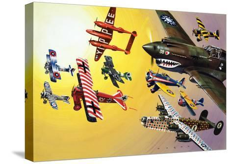 Montage of Aircraft with Colourful Markings-Wilf Hardy-Stretched Canvas Print