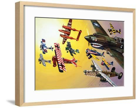 Montage of Aircraft with Colourful Markings-Wilf Hardy-Framed Art Print