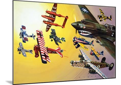 Montage of Aircraft with Colourful Markings-Wilf Hardy-Mounted Giclee Print