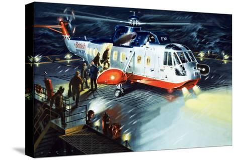 British Airways Rescue Helicopter-Wilf Hardy-Stretched Canvas Print