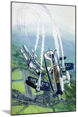The Rothmans Aerobatics Team Flying in Their Stampe SV4B Biplanes-Wilf Hardy-Mounted Giclee Print
