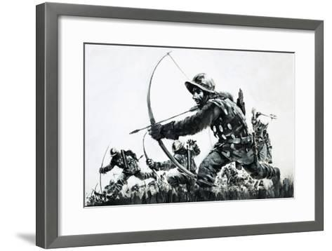 Bowmen at the Battle of Bannockburn-Graham Coton-Framed Art Print