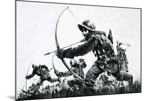 Bowmen at the Battle of Bannockburn-Graham Coton-Mounted Giclee Print