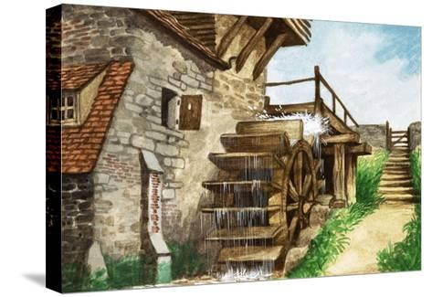 Old Water Mill by a Stream-Peter Jackson-Stretched Canvas Print