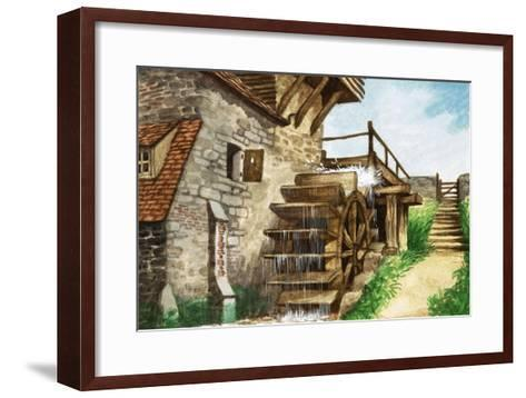 Old Water Mill by a Stream-Peter Jackson-Framed Art Print