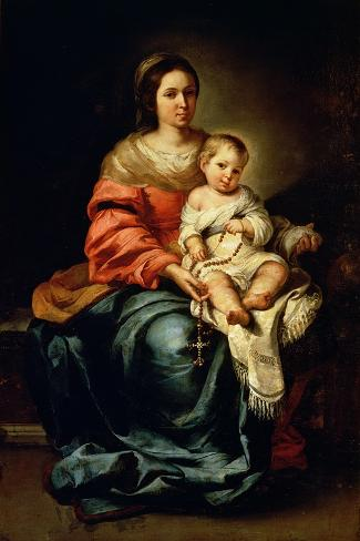 The Madonna of the Rosary-Bartolome Esteban Murillo-Stretched Canvas Print
