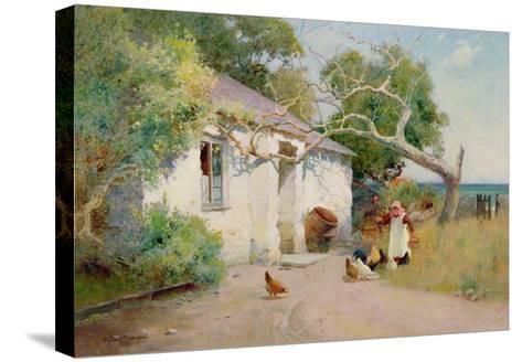 Feeding the Hens, 1894-Arthur Claude Strachan-Stretched Canvas Print