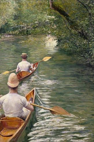 The Canoes, 1878-Gustave Caillebotte-Stretched Canvas Print