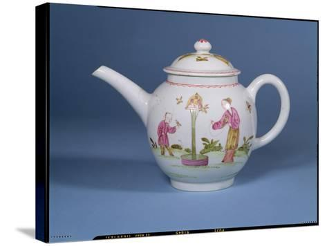 Teapot and Cover with a Dovecote and Two Chinoiserie Figures, c.1770-75--Stretched Canvas Print