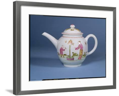 Teapot and Cover with a Dovecote and Two Chinoiserie Figures, c.1770-75--Framed Art Print