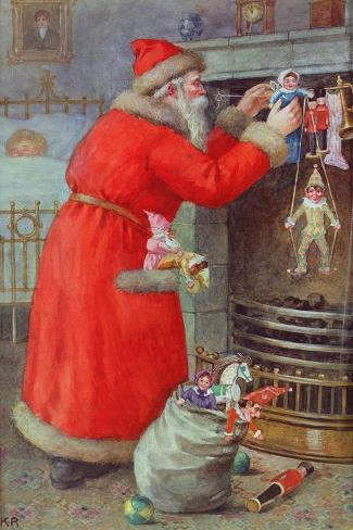 Father Christmas-Karl Roger-Stretched Canvas Print