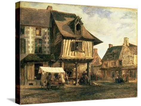Market Place in Normandy, c.1832-Pierre Etienne Theodore Rousseau-Stretched Canvas Print