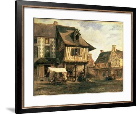 Market Place in Normandy, c.1832-Pierre Etienne Theodore Rousseau-Framed Art Print