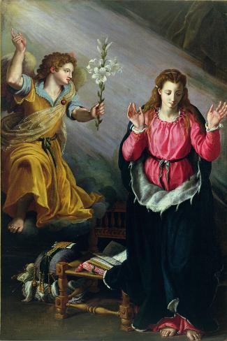 The Annunciation, 1603-Alessandro Allori-Stretched Canvas Print
