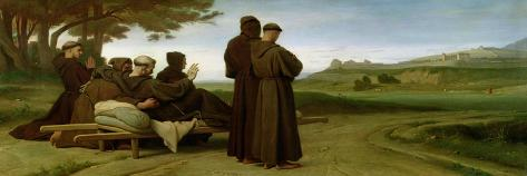 St. Francis of Assisi, While Being Carried to Saint-Marie-Des-Anges, Blesses Assisi in 1226, 1853-Francois Leon Benouville-Stretched Canvas Print