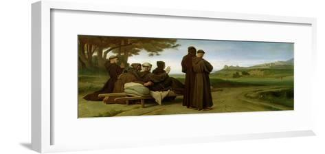 St. Francis of Assisi, While Being Carried to Saint-Marie-Des-Anges, Blesses Assisi in 1226, 1853-Francois Leon Benouville-Framed Art Print