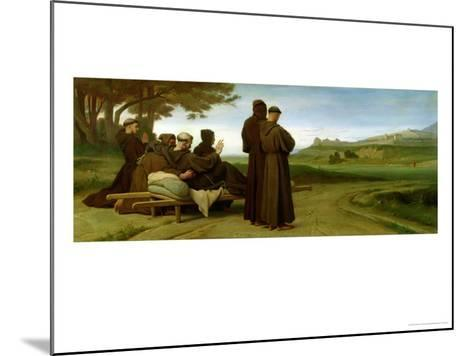 St. Francis of Assisi, While Being Carried to Saint-Marie-Des-Anges, Blesses Assisi in 1226, 1853-Francois Leon Benouville-Mounted Giclee Print