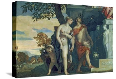 Venus and Mercury Presenting Her Son Anteros to Jupiter-Paolo Veronese-Stretched Canvas Print