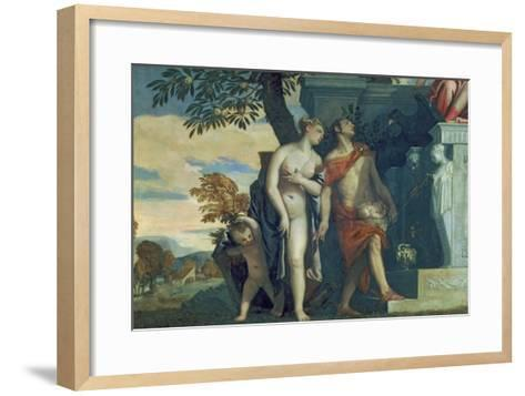 Venus and Mercury Presenting Her Son Anteros to Jupiter-Paolo Veronese-Framed Art Print