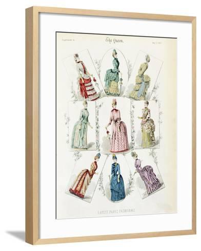 Latest Paris Fashions, Nine Day Dresses in a Fashion Plate, a Supplement to The Queen, May 1885--Framed Art Print