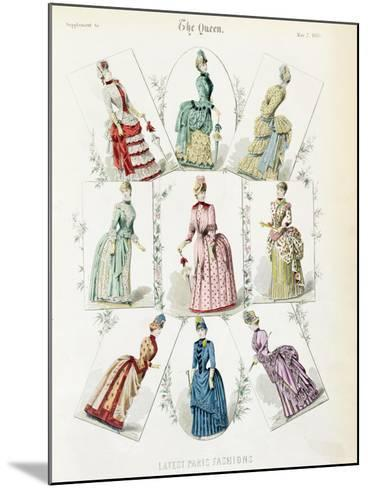 Latest Paris Fashions, Nine Day Dresses in a Fashion Plate, a Supplement to The Queen, May 1885--Mounted Giclee Print