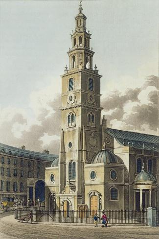 St. Clement Danes Church, Pub. by Rudolph Ackermann--Stretched Canvas Print