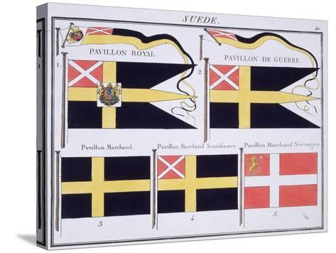 Scandinavian Flags, from a French Book of Flags, c.1819--Stretched Canvas Print