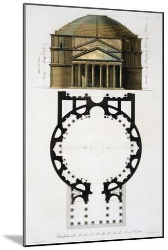 Ground and Facade: Pantheon, Rome, Le Costume Ancien et Moderne, c.1820-30- Fumagalli-Mounted Giclee Print