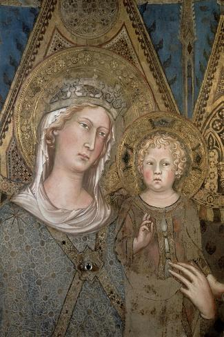 Maesta, Detail of the Madonna and Child, 1315-Simone Martini-Stretched Canvas Print