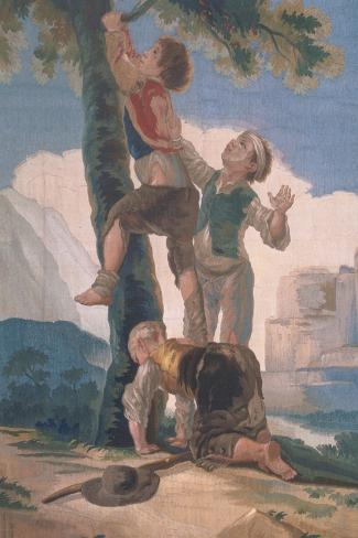 Boys Climbing a Tree-Suzanne Valadon-Stretched Canvas Print