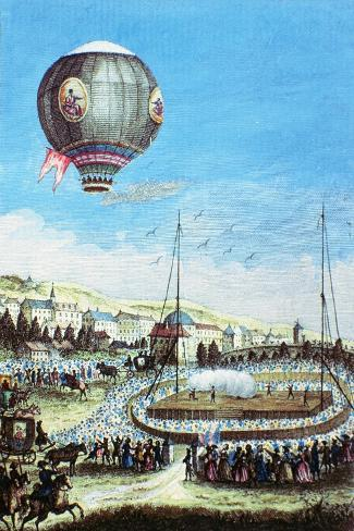 Brolteaux in Lyon and the Third Flight of the Montgolfier Hot-Air Balloon, 10th of January 1784--Stretched Canvas Print