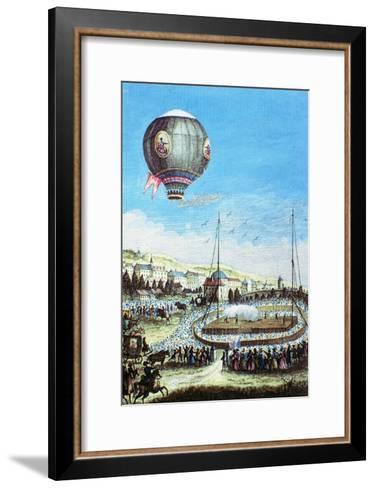 Brolteaux in Lyon and the Third Flight of the Montgolfier Hot-Air Balloon, 10th of January 1784--Framed Art Print