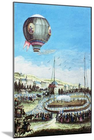 Brolteaux in Lyon and the Third Flight of the Montgolfier Hot-Air Balloon, 10th of January 1784--Mounted Giclee Print