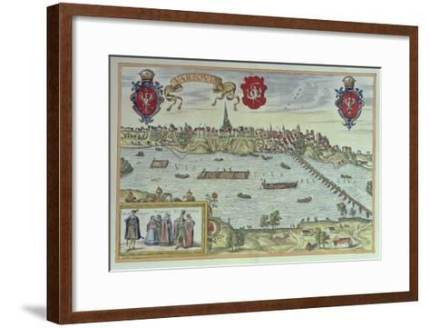 View of the City of Warsaw Beside the River Vistula, from 'Old European City Scenes--Framed Art Print