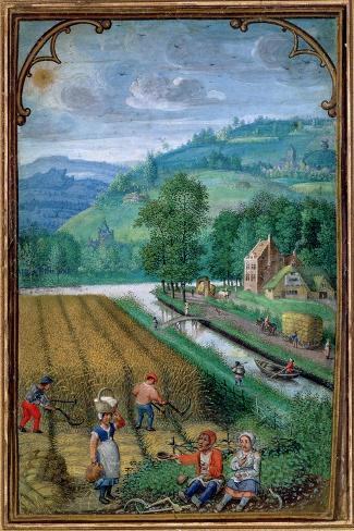 September: Harvesting, Ploughing and Sowing, from a Book of Hours, c.1540-Simon Bening-Stretched Canvas Print