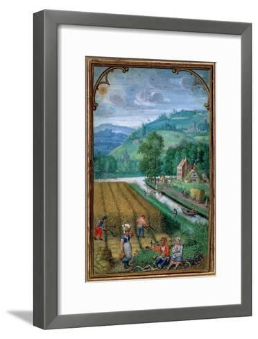 September: Harvesting, Ploughing and Sowing, from a Book of Hours, c.1540-Simon Bening-Framed Art Print