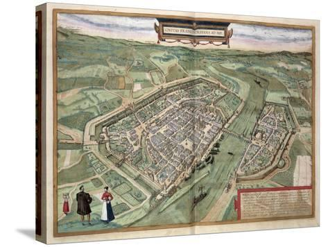 Map of Frankfurt, from Civitates Orbis Terrarum by Georg Braun-Joris Hoefnagel-Stretched Canvas Print