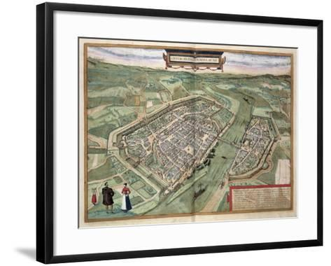 Map of Frankfurt, from Civitates Orbis Terrarum by Georg Braun-Joris Hoefnagel-Framed Art Print